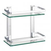 رف زجاجي بمستويين DOUBLE GLASS SHELF LINISI 75618